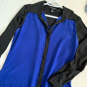 Black Royal Blue Blouse